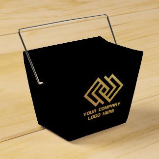 Your Company Party Logo Favor Box Takeout Black