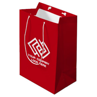 Your Company Party Logo Gift Bag Medium Red