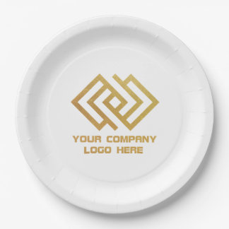 "Your Company Party Logo Paper 9"" Plates White 9 Inch Paper Plate"