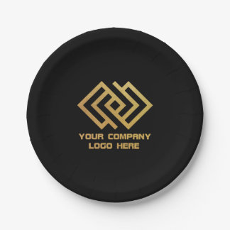 Your Company Party Logo Paper Plates Black