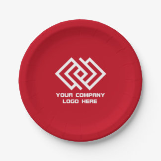 Your Company Party Logo Paper Plates Red