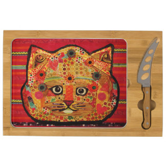 Your Custom Icon Cheese Board with Big Cat Round Cheese Board