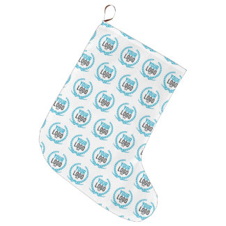 Your Custom Logo   Image All Over Patterned Large Christmas Stocking