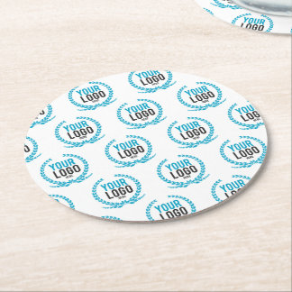 Your Custom Logo | Image All Over Patterned Round Paper Coaster