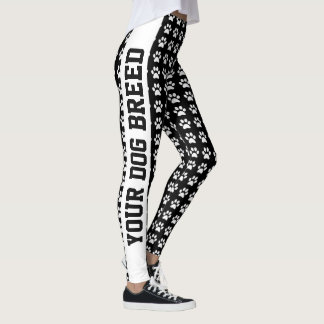 Your Dog Breed and Paws Personalize Text and Color Leggings