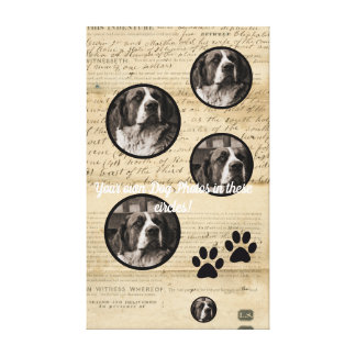 Your Dog Photo n Paws 1860 Legal Document antique Canvas Print