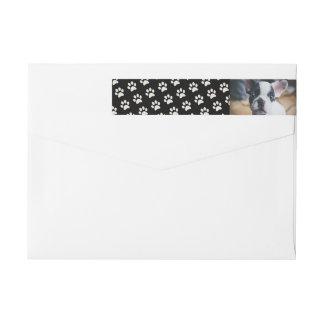 Your Dog Photo with Paw Print Background Custom Wraparound Return Address Label