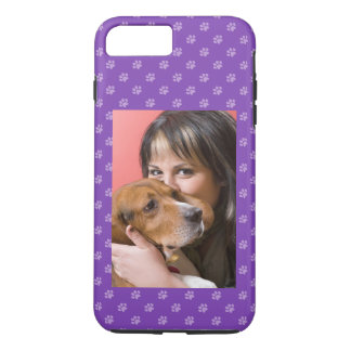 Your Dog & You Photo Custom Puppy Dog Paw Purple iPhone 8 Plus/7 Plus Case