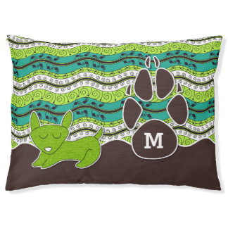 Your Dog's Monogram in Chocolate Brown and Green Large Dog Bed