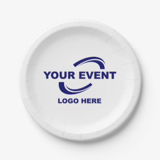 Your Event Logo Paper Plates White or Choose Color 7 Inch Paper Plate