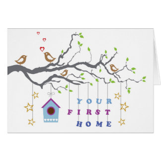'Your first home' moving in couples greeting card