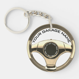 your garage name custom details business keyrings
