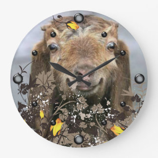 YOUR Goat's PHOTO Floral  Wall Clock