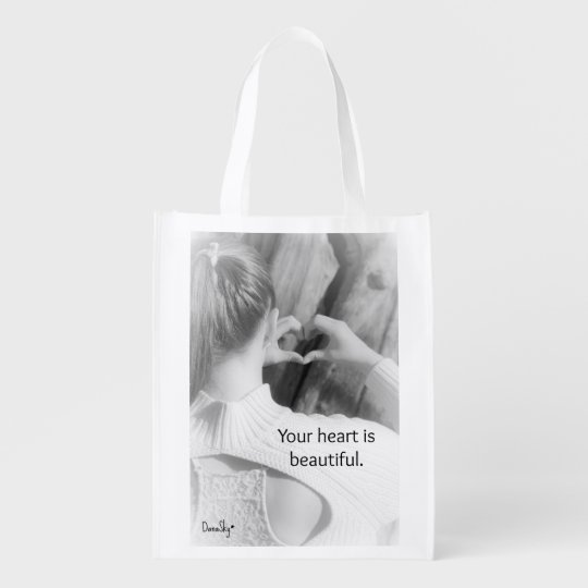 """""""Your heart is beautiful"""" Reusable Tote Bag Market Tote"""