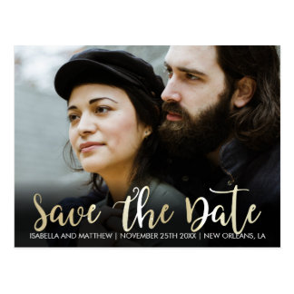 Your Image Here | Champagne Save The Date Photo Postcard