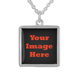 Your Image Here (Vertical) Sterling Silver Necklace