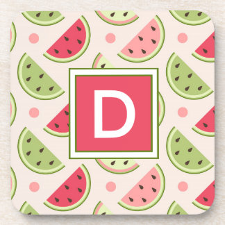 Your Initial | Cute Watermelon Patttern Monogram Coaster