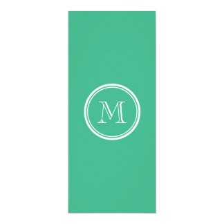 "Your Initial Mint Green High End Colored 4"" X 9.25"" Invitation Card"