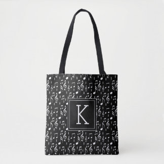 Your Initial | Musical Notes Tote Bag