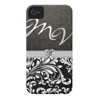 """your initials"" Elegant Damask with Diamond iPhone 4 Cover"