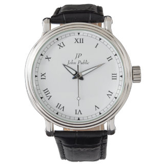 Your Initials Monogram with Roman Clock Face Watch