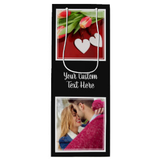 YOUR Instagram Photos, Text & Color wine gift bag