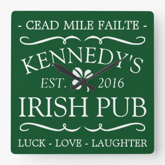 Your Irish Pub Square Wall Clock