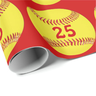 Your JERSEY NUMBER, COLORS Softball Wrapping Paper