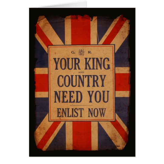 Your KING and COUNTRY need you - Vintage War Card