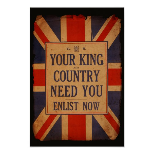 Your KING and COUNTRY need you - Vintage War Poster