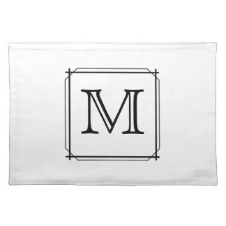 Your Letter. Black and White Monogram. Place Mat
