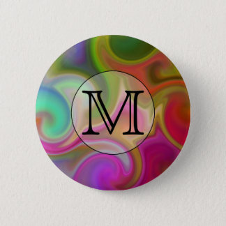Your Letter, Colorful Swirls and Custom Monogram. 2 Inch Round Button
