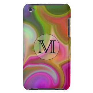 Your Letter, Colorful Swirls and Custom Monogram. Barely There iPod Cases