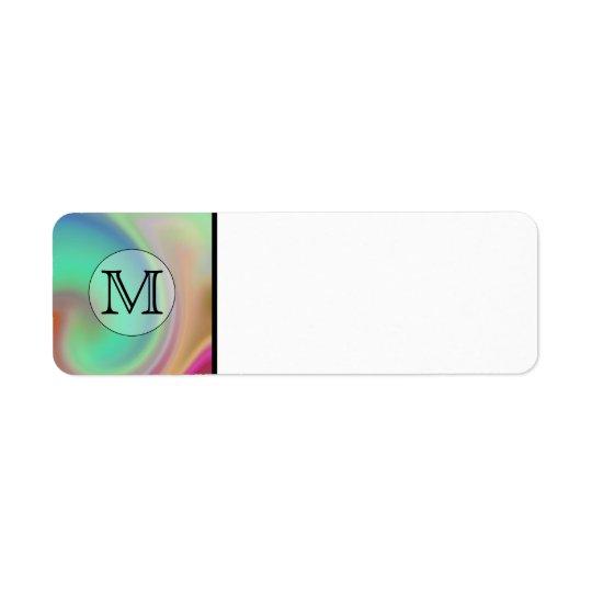 Your Letter, Colourful Swirls and Custom Monogram. Return Address Label