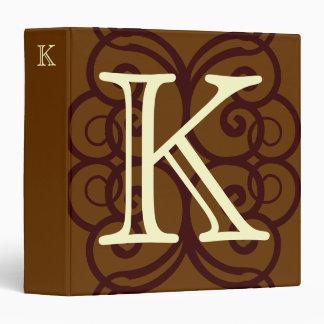Your Letter. Custom Brown Monogram. Old Fashioned. Vinyl Binders