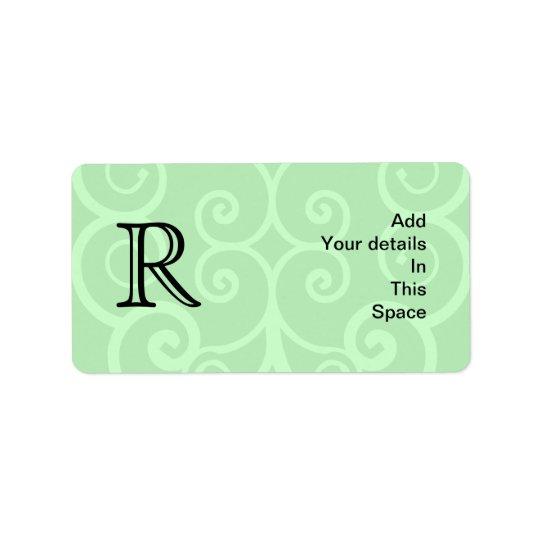 Your Letter. Custom Green Swirl Monogram. Label