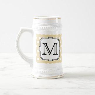 Your Letter. Custom Monogram. Beige Polka Dot. Beer Steins