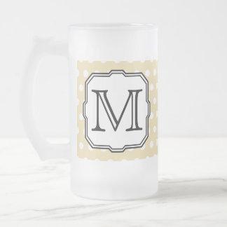 Your Letter. Custom Monogram. Beige Polka Dot. Frosted Glass Mug