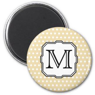 Your Letter. Custom Monogram. Beige Polka Dot. Fridge Magnet