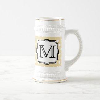 Your Letter. Custom Monogram. Beige Polka Dot. Mugs