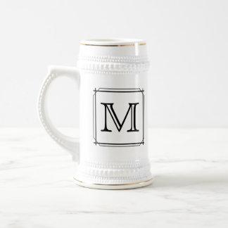 Your Letter. Custom Monogram. Black and White Beer Stein