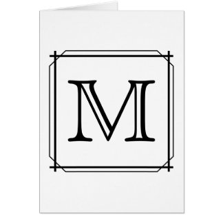 Your Letter. Custom Monogram. Black and White Card