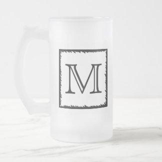 Your Letter. Custom Monogram. Black and White Coffee Mug