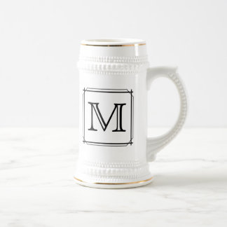 Your Letter Custom Monogram Black and White Mugs