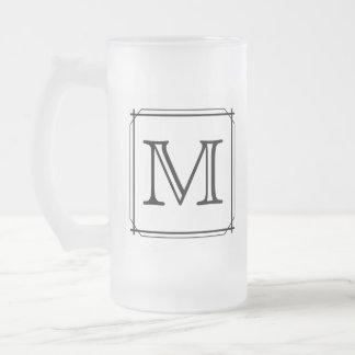 Your Letter Custom Monogram Black and White Coffee Mug