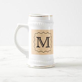 Your Letter. Custom Monogram. Black & Parchment 18 Oz Beer Stein