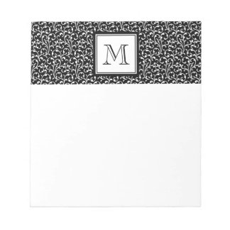 Your Letter. Custom Monogram. Black White Swirls Notepad