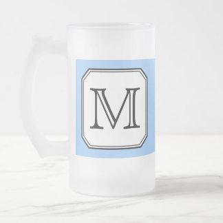 Your Letter. Custom Monogram. Blue Black White. Frosted Glass Beer Mug