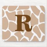 Your Letter. Custom Monogram Giraffe Print Design Mousepad