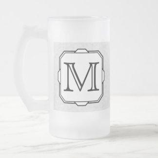 Your Letter. Custom Monogram. Gray, Black & White Frosted Glass Beer Mug